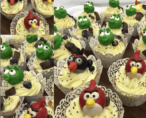 Cupcakes s postavičkami angry birds a perličkami