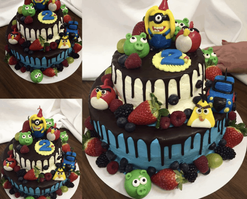 Detská torta angry birds s mascarpone krémom a belgickou čokoládou a čerstvým ovocím
