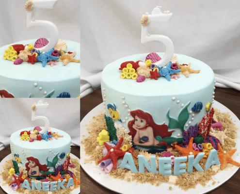 Detská torta ariel mala morská víla s pieskovou plážou