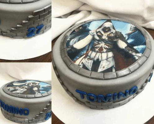 Detská torta plnená krémom pribináčik s témou assasin