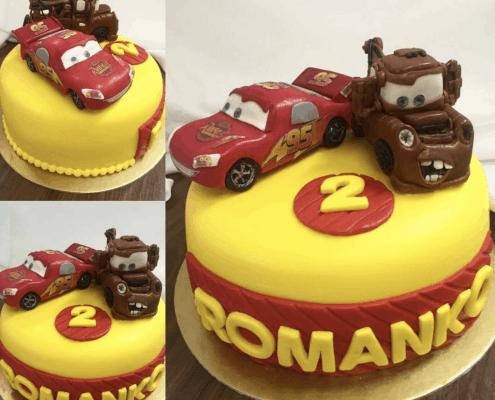 Detská torta s 3D modelovanými autami