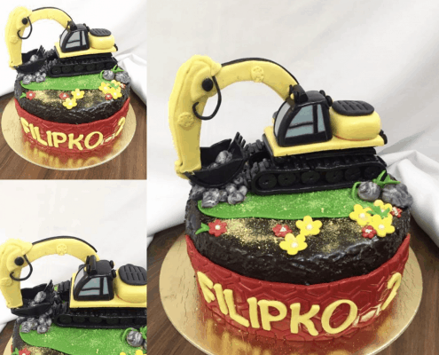 Detská torta s bagrom a pieskom