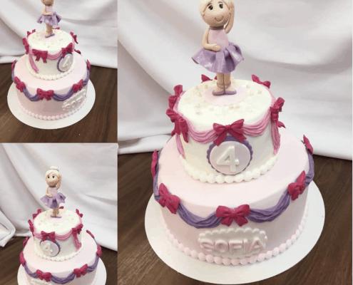 Detská torta s baletkou a mašľami