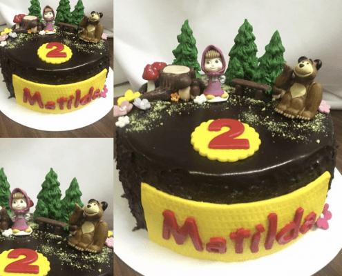 Detská torta s mášou a medveďom v lesíku