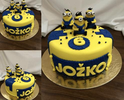 Detská torta s tromi mimoňmi tmavo modrá