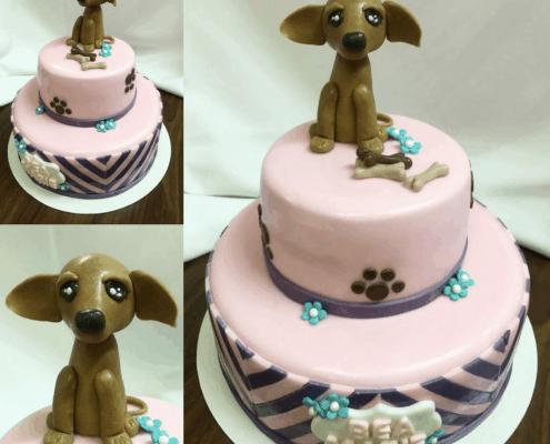 Detská torta so psíkom čivava a kostičkou