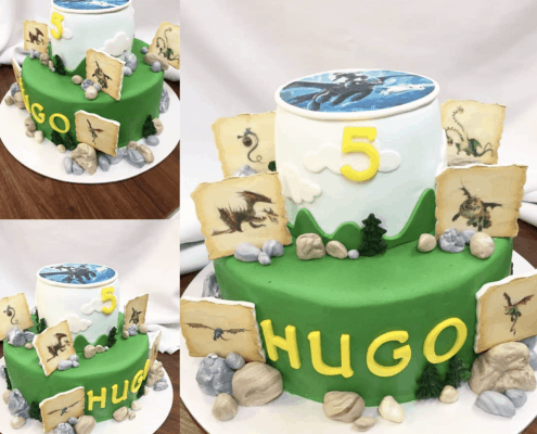 Detská torta s dinosaurami a kameňmi