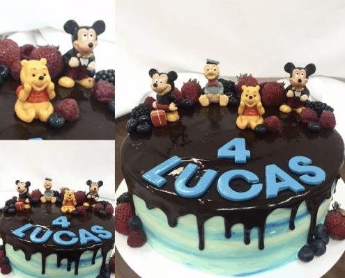 Detská torta s postavičkami disney a čerstvým ovocím