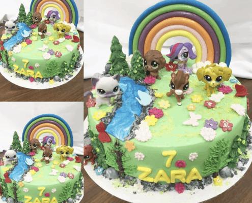 Detská torta s dúhou a zvieratkami