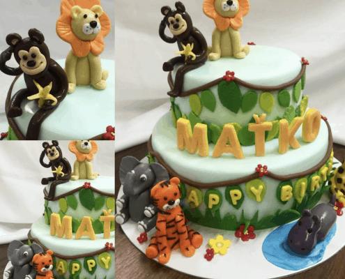 Detská torta so zvieratkami z džungle
