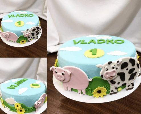 Detská farmárska torta s prasiatkom a krabičkou