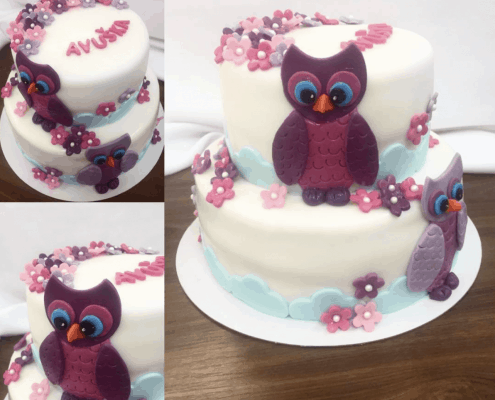 Detská biela torta s fialovými sovičkami