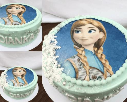 Detská torta anna z rozprávky frozen