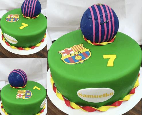 Detská futbalová torta s logom FC Barcelona a loptou