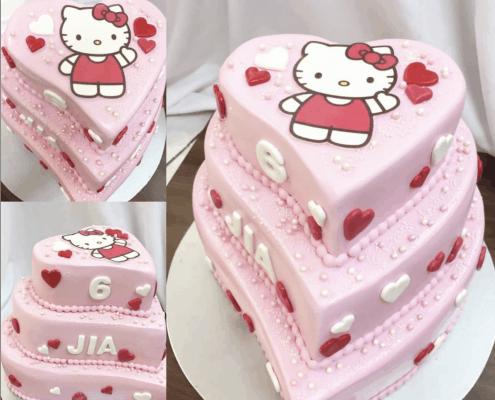 Poschodová detská torta hello kitty so srdiečkami