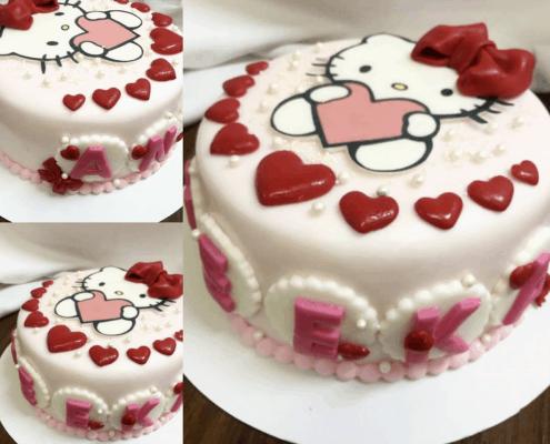 Detská torta hello kitty so srdiečkami a perličkami