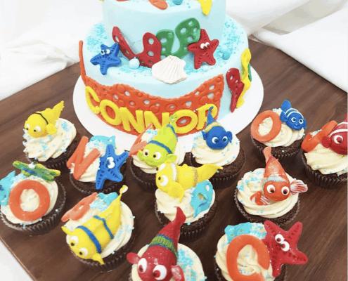 Detská torta hľadá sa nemo s cupcakes a rybičkami