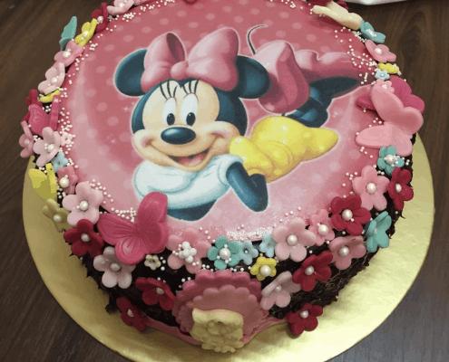 Detská torta s jedlým obrázkom minnie a kvietkami