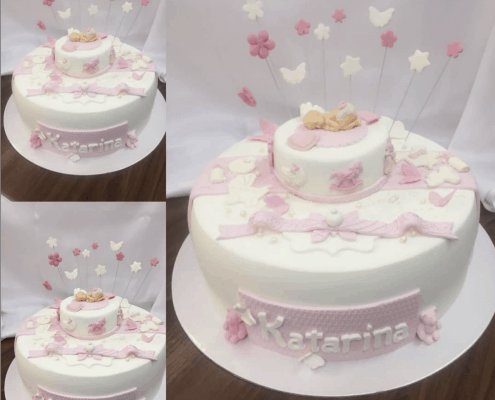 Torta na krst s bábätkom hviezdičkami a motýlikmi