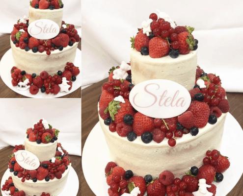 Detská torta s čerstvým ovocím a plaketkou s menom