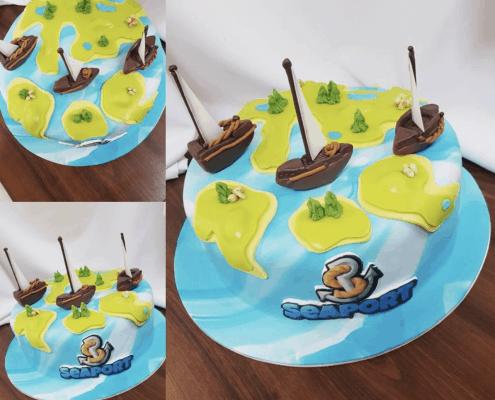 Detksá torta s loďkami seaport podľa počítačovej hry