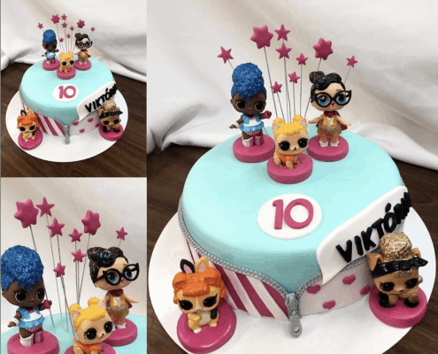 Detská torta s bábikami lol a zipsom