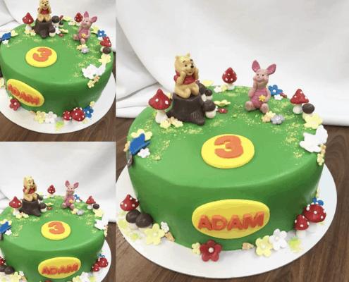 Detká torta macko pú a prasiatko v lese