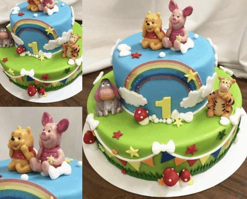 Torta na prvý rok s postavičkami macka Pú