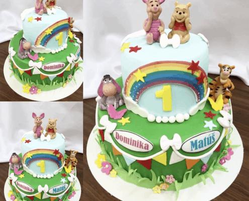 Detsá torta pre dvojičky s kamarátmi macka Pú a hviezdičkami