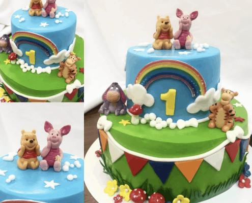 Veselá detská torta macko pu a kamaráti