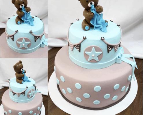 Detská šedo modrá torta s medvedíkom a dekou