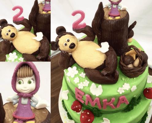 Detská torta s postavičkami máša a medveď s hríbikmi