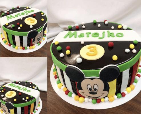 Farebná detská torta s motívom mickey mousse