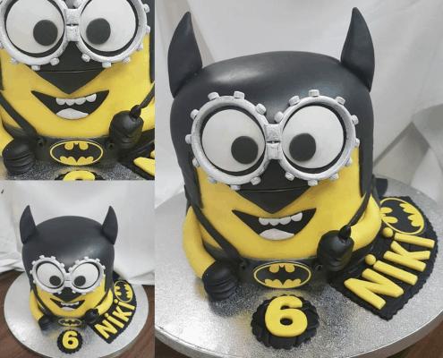 Detská torta v tvare mimoňa prezlečeného za batmana