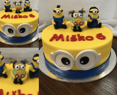 Detská torta s motívom mimoňa s malými postavičkami navrch