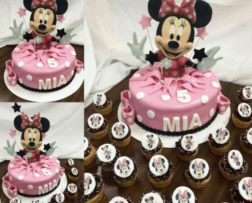 Detská torta s minnie a cupcakes z belgickej čokolády