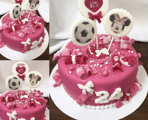 Torta plná sladkostí od minnie a žuvačky