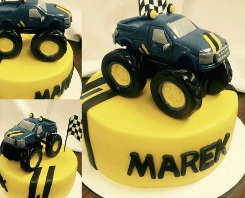 Detská torta monster truck s vymodelovaným autom