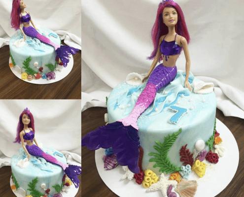 Morská torta s ariel morskou pannou a koralmi plnená nugátom