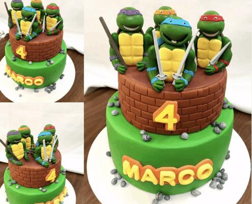Zelená torta s ninja korytnačkami a tehlovou vrchnou časťou