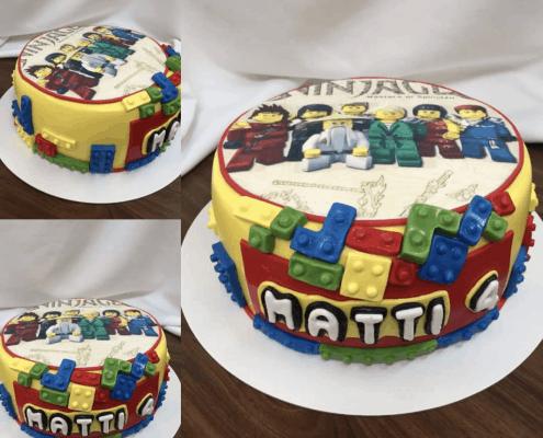 Detská lego torta ninjago s farebnými lego kockami