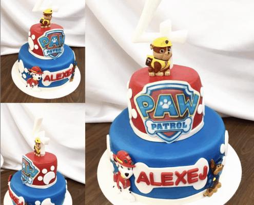 Chlapčenská detská torta paw patrol s číslom 4