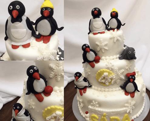 Detská zimná torta s tučniakmi pingu a snehovými vločkami