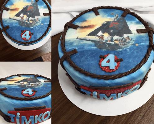 Pirátska detská torta s lanom po obvode