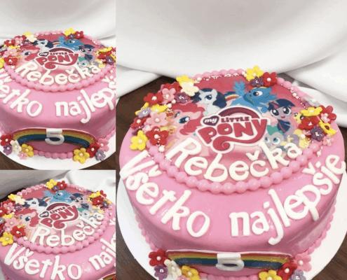 Detská ružová torta s poníkami a dúhou