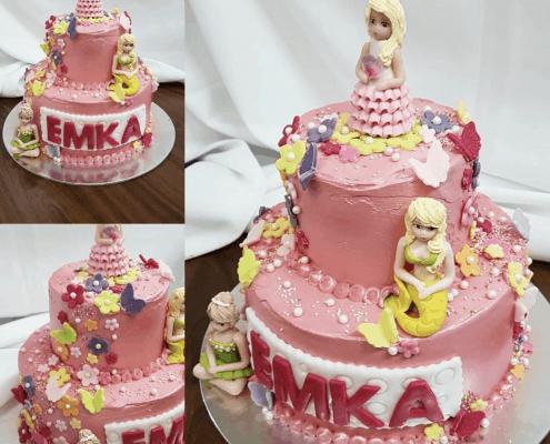 Krémová detská torta s princeznami