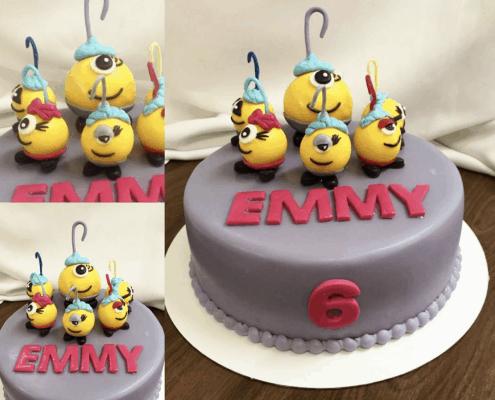 Fialová detská torta s príšerkami