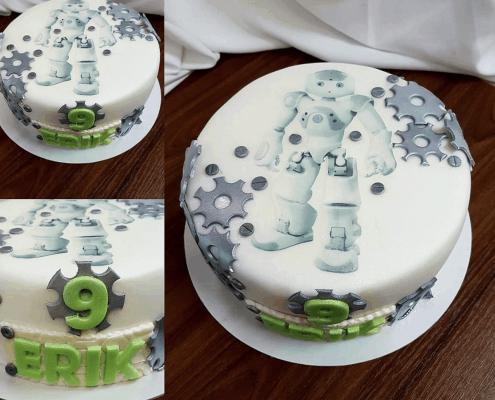 Chlapčenská torta na narodeniny s ozubenými kolesami a robotom
