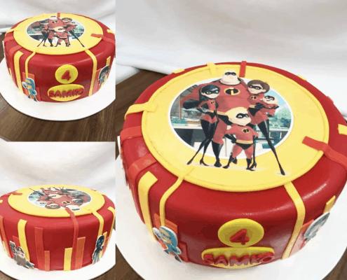 Detská torta rodinka úžasných plnená čerstvým ovocím