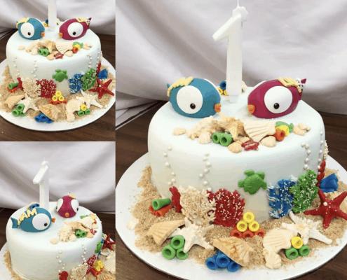 Morská detská torta s milými rybičkami a pieskom